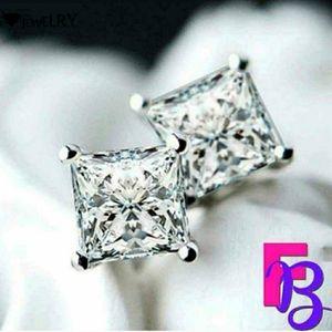 4 CTW Princess Cut Earrings